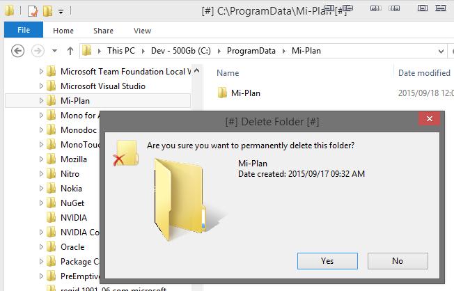 Delete ProgramData Mi-Plan