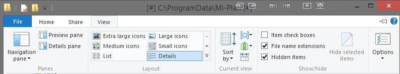 Windows Explorer - View tab